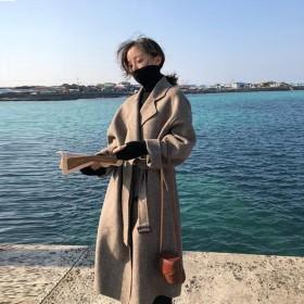 2019秋冬裝日系大衣女中長款流行小個子毛呢外套