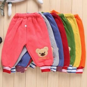 兒童褲子加絨加厚秋冬款男女童長褲打底嬰兒外穿抓絨寶