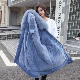 冬季新款派克服韓版中長款棉服女大毛領收腰加絨