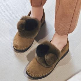 豆豆鞋女2019新款秋冬季女鞋加絨平底毛毛鞋外穿棉