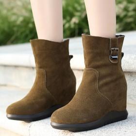 內增高短靴女2019新款秋冬季加絨女鞋坡跟磨砂靴子