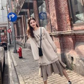 衛衣連衣裙2019秋冬新款大碼寬松胖MM假兩件衛衣