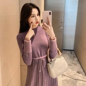 時尚韓版針織法式復古連衣裙中長款減齡純色打底裙