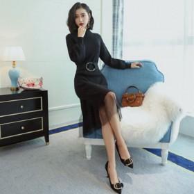 時尚新款針織連衣裙淑女氣質中長款寬松純色高領套頭裙