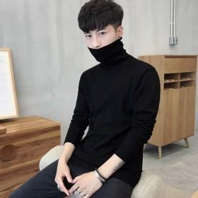 男士修身打底衫高领毛衣纯色针织衫长袖韩版两翻领线衫