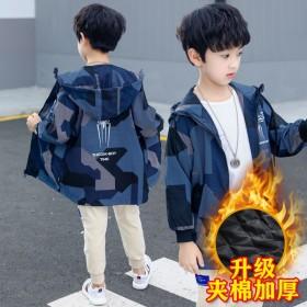 童装男童外套棉衣秋装儿童迷彩中长款风衣中大童棉袄