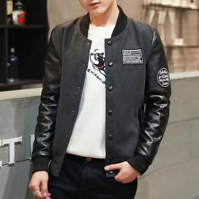 春秋季韩版休闲皮夹克外套百搭机车棒球服青年装男外套