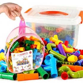 儿童塑料拼插玩具拼装管道式益智力开发女孩男孩积木