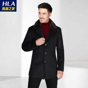 海澜之家男装95%羊毛水貂毛西装领呢大衣呢子外套