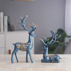 欧式蓝色情侣鹿摆件一对