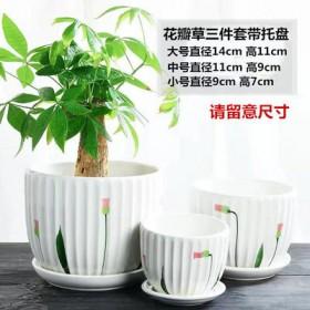 大号花盆三件套创意绿萝个性塑料小多肉陶瓷花盆