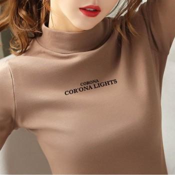 加厚加绒打底衫女t恤长袖修身韩版新款秋冬装内搭半