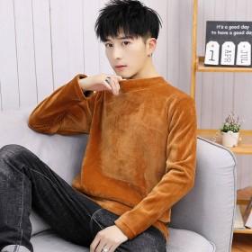 半高领卫衣男韩版潮流修身打底衫金丝绒长袖t恤男士