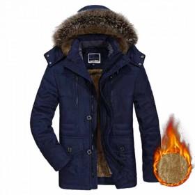 冬装中长款加绒加厚保暖棉衣中老年加大码毛领176
