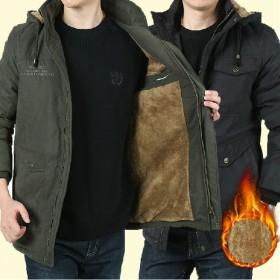 男士棉衣冬季新款商务休闲中年连帽夹克外套308