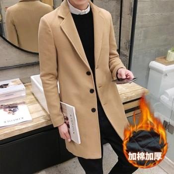 加厚毛呢大衣韩版呢料外套修身风衣男士中长款青年披风