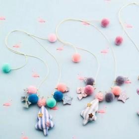 韩版毛绒球球布艺华丽圣诞树小蝴蝶结五角星吊坠项链