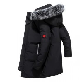 90%白鸭绒绒服男士新款中长款休闲大毛领外套838