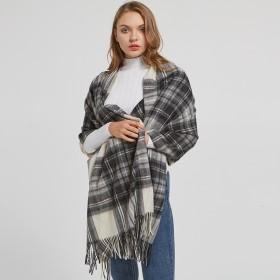大格子羊毛围巾披肩两用