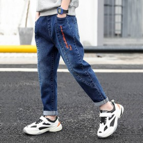 男童加绒牛仔棉裤2019秋男孩潮流洋气裤子新款韩版