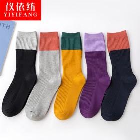 仪依纺堆堆袜女秋冬款拼色女袜学院风加厚保暖袜子女