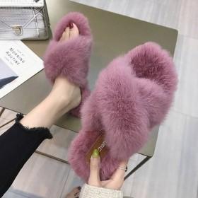 网红真兔毛拖鞋女秋冬2019新款韩版时尚平底一字拖
