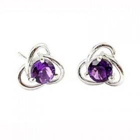 天然紫水晶耳钉女925纯银(一对价)