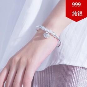 999纯银手镯女款足银学生铃铛镯子生日礼物送女友个