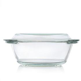 2个1L家用耐热钢化耐热玻璃碗带盖微波炉水晶煲玻璃