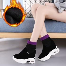 弹力布短靴女弹力靴袜子靴加绒秋冬内增高女靴磨砂