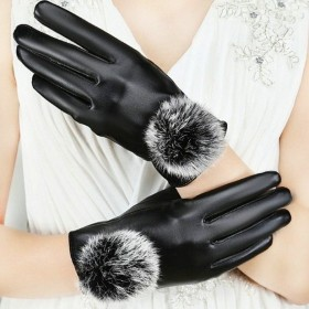 防寒PU毛球手套皮女士加绒加厚保暖手套触屏骑车防风
