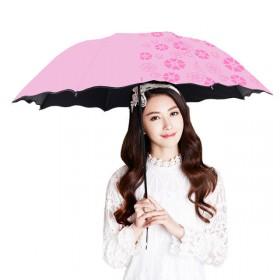 遇水开花晴雨伞三折叠伞防紫外线清新遮阳伞防晒伞