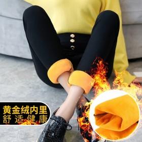 冬加绒外穿打底裤女黑色大码加厚长裤子高腰修身小脚裤