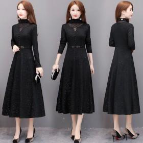 冬季新款韩版加绒连衣裙长袖洋气减龄黑色大码打底裙