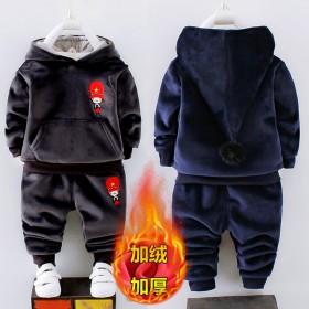 儿童秋冬季双面绒加厚两件套1-6岁宝宝套装