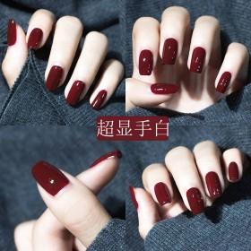 指甲油女网红可撕免烤防水快干套装车厘子酒红色指甲油