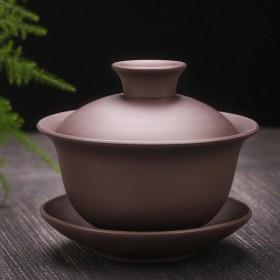 紫砂三才盖碗泡茶器
