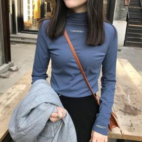 字母刺绣女士T恤上衣秋冬休身韩版甜美