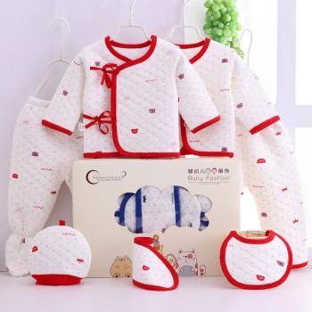 新生儿纯棉春秋冬季保暖内衣7件套装宝宝婴儿礼盒装