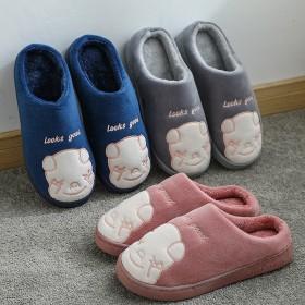 小猪情侣棉拖鞋男女冬季室内防滑家居毛绒月子鞋