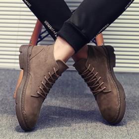 19秋季新款馬丁靴高幫男鞋歐美厚底男士靴子皮靴復古