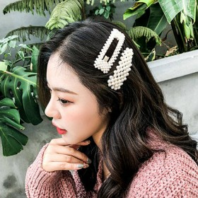 韩国ins珍珠发夹少女卡子bb夹边夹一字夹刘海网红