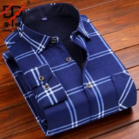 衬衣衬衫长袖经典格子加绒外套保暖衬