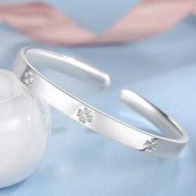 s999纯银手镯女士银饰银镯子爱心四叶草手镯韩版时
