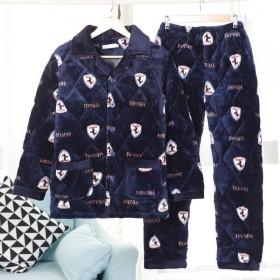 男士睡衣冬季珊瑚绒加厚加绒三层夹棉法兰绒家居服套装