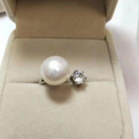 大爱永恒天然珍珠戒指女开口可调节纯银时尚气质
