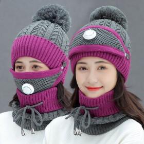 帽子口罩围脖三件套