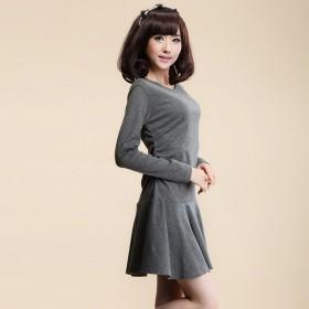 大码女连衣裙秋装长袖显瘦时尚打底衫大码女装长秋冬
