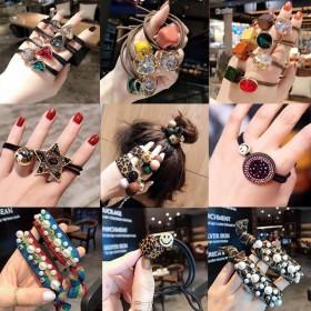 韩国网红豹纹头绳橡皮筋扎头发绳发饰头饰毛球简约时尚
