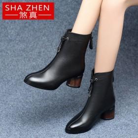 煞真短靴女粗跟中筒加絨加厚中跟2019鞋子新款棉鞋